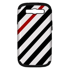 Red, black and white lines Samsung Galaxy S III Hardshell Case (PC+Silicone)