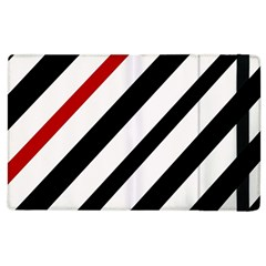 Red, black and white lines Apple iPad 2 Flip Case