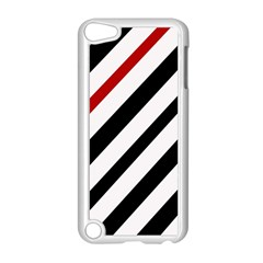 Red, black and white lines Apple iPod Touch 5 Case (White)