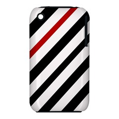 Red, Black And White Lines Apple Iphone 3g/3gs Hardshell Case (pc+silicone)