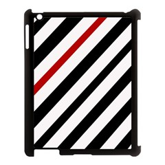 Red, black and white lines Apple iPad 3/4 Case (Black)