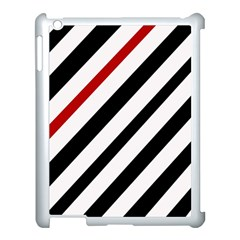 Red, black and white lines Apple iPad 3/4 Case (White)