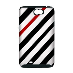 Red, black and white lines Samsung Galaxy Note 2 Hardshell Case (PC+Silicone)