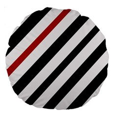 Red, black and white lines Large 18  Premium Round Cushions