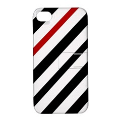 Red, black and white lines Apple iPhone 4/4S Hardshell Case with Stand