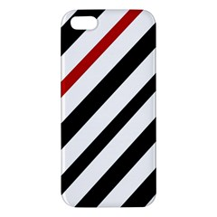 Red, black and white lines Apple iPhone 5 Premium Hardshell Case