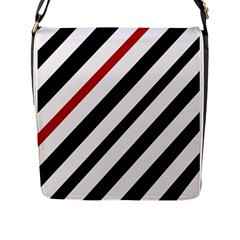 Red, black and white lines Flap Messenger Bag (L)