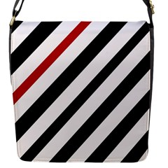 Red, black and white lines Flap Messenger Bag (S)