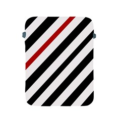 Red, black and white lines Apple iPad 2/3/4 Protective Soft Cases