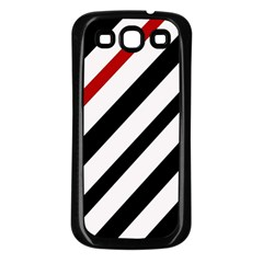 Red, black and white lines Samsung Galaxy S3 Back Case (Black)