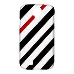 Red, black and white lines Samsung Galaxy S4 Classic Hardshell Case (PC+Silicone)