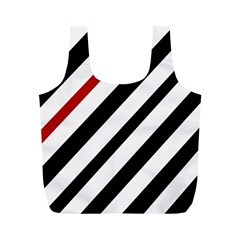Red, black and white lines Full Print Recycle Bags (M)