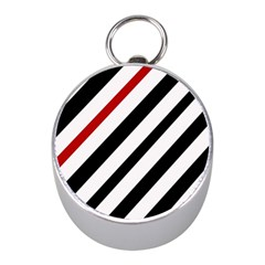 Red, black and white lines Mini Silver Compasses