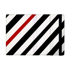 Red, black and white lines iPad Mini 2 Flip Cases