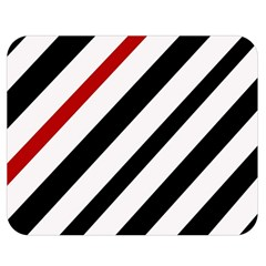Red, black and white lines Double Sided Flano Blanket (Medium)