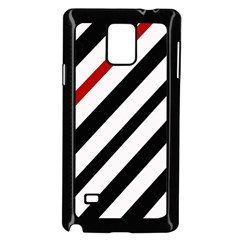 Red, black and white lines Samsung Galaxy Note 4 Case (Black)