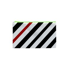 Red, black and white lines Cosmetic Bag (XS)