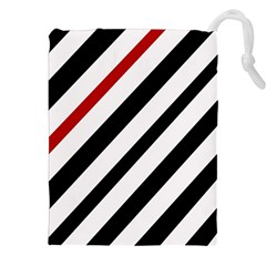 Red, black and white lines Drawstring Pouches (XXL)