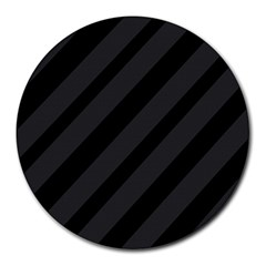 Gray and black lines Round Mousepads