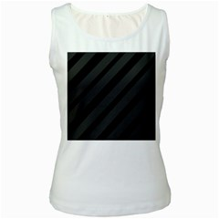 Gray and black lines Women s White Tank Top