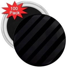 Gray And Black Lines 3  Magnets (100 Pack)