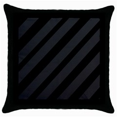 Gray and black lines Throw Pillow Case (Black)