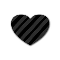 Gray and black lines Rubber Coaster (Heart)