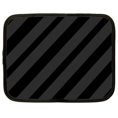Gray and black lines Netbook Case (XXL)