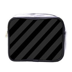 Gray and black lines Mini Toiletries Bags