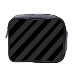 Gray and black lines Mini Toiletries Bag 2-Side