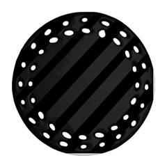 Gray and black lines Ornament (Round Filigree)