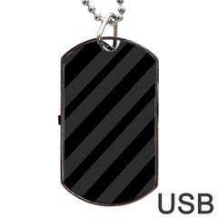 Gray and black lines Dog Tag USB Flash (Two Sides)