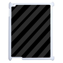 Gray and black lines Apple iPad 2 Case (White)