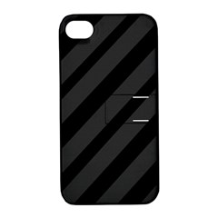 Gray and black lines Apple iPhone 4/4S Hardshell Case with Stand