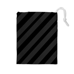 Gray and black lines Drawstring Pouches (Large)
