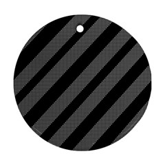 Black and gray lines Ornament (Round)