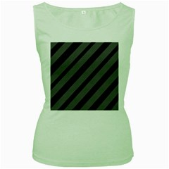 Black and gray lines Women s Green Tank Top