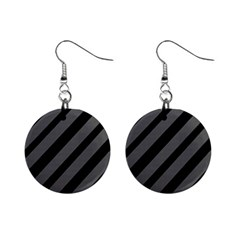 Black and gray lines Mini Button Earrings