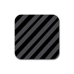 Black and gray lines Rubber Square Coaster (4 pack)
