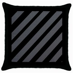 Black and gray lines Throw Pillow Case (Black)
