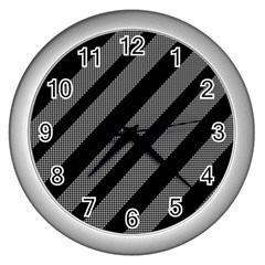 Black and gray lines Wall Clocks (Silver)