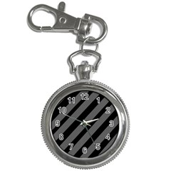 Black and gray lines Key Chain Watches