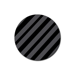Black and gray lines Rubber Coaster (Round)