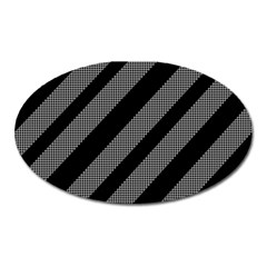 Black and gray lines Oval Magnet