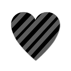 Black and gray lines Heart Magnet