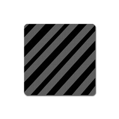 Black and gray lines Square Magnet