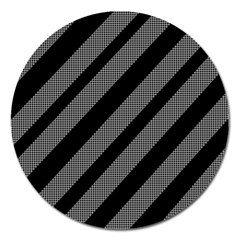 Black and gray lines Magnet 5  (Round)