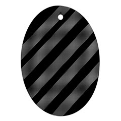Black and gray lines Oval Ornament (Two Sides)