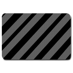 Black and gray lines Large Doormat
