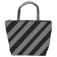 Black and gray lines Bucket Bags